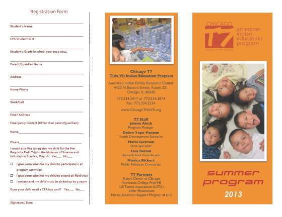 Don't Forget to Sign-Up for the T7 Summer Program