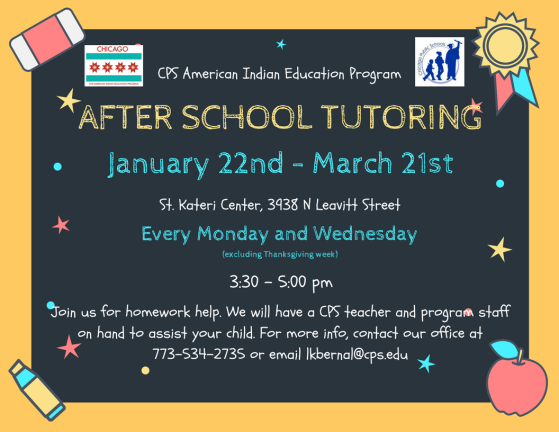 After school tutoring 1-22 thru 3-21-18