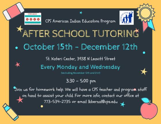 After school tutoring 10-15 thru 12-12